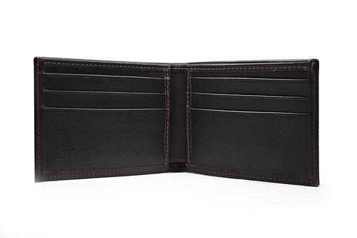Un portefeuille noir en cuir ouvert